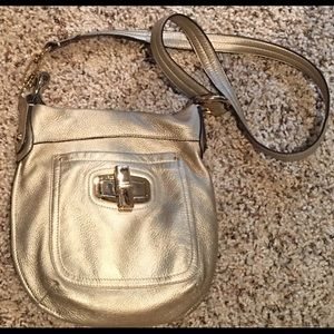 B. Makowsky Gold Metallic Leather Crossbody